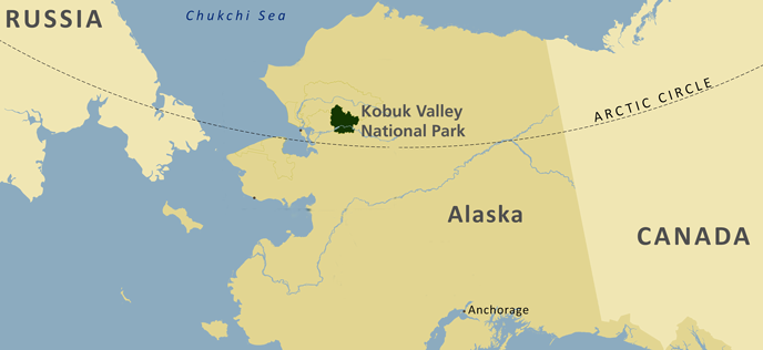 a map of Alaska showing Kobuk Valley in the northwest corner of the state