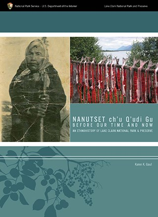 Front cover of Nanutset ch'u Q'udi Gu. Features a photograph of a Dena'ina woman and a photograph of salmon drying on a traditionl fish drying rack.
