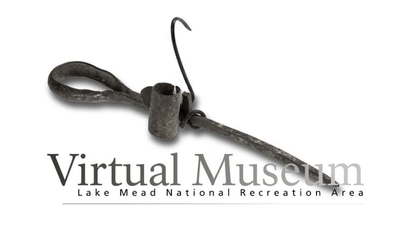 A rusted iron candle holder used by miners introduces the artifacts in Lake Mead's Virtual Museum