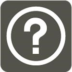 grey icon with white question mark in circle