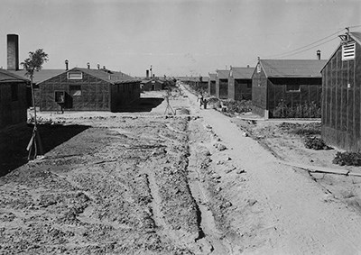 Road and buildings at Minidoka in the 1940s