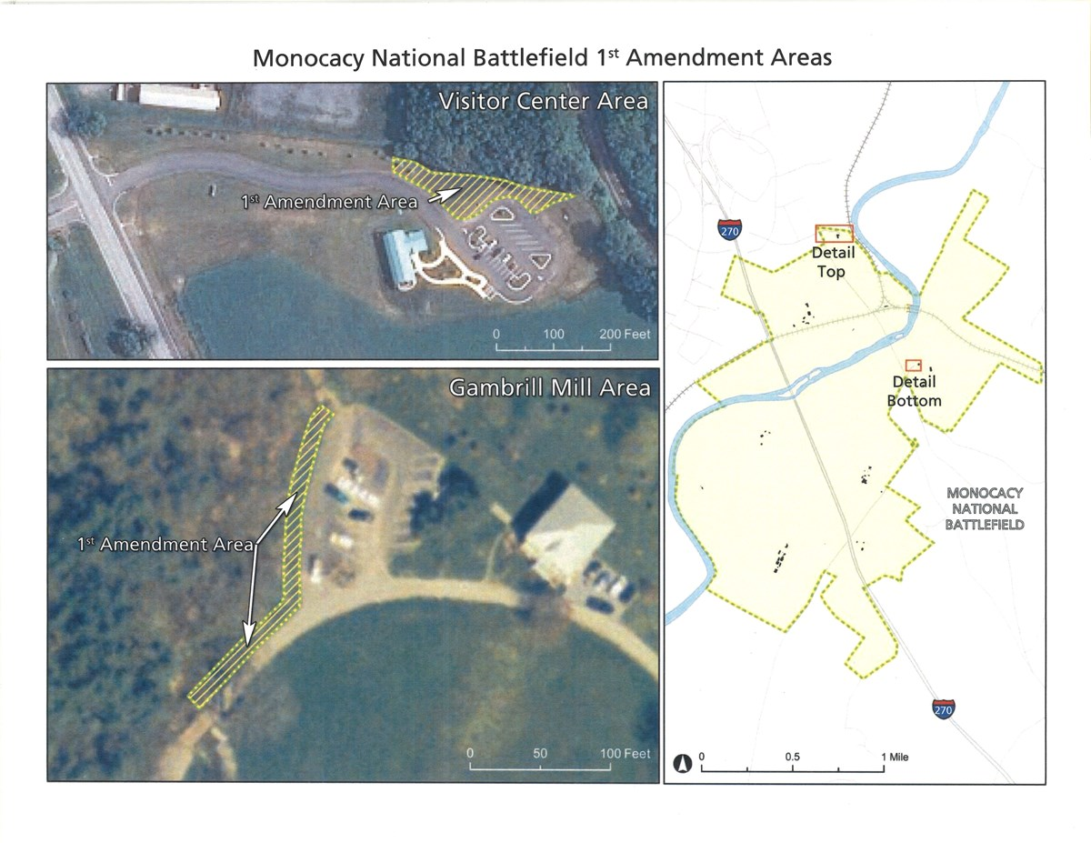 Map of Monocacy National Battlefields Designated 1st Amendment Areas