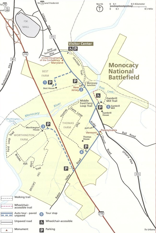Map of park boundaries with trails and buildings shown.