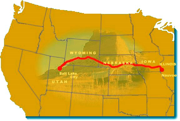 Image map of the Mormon Pioneer National Historic Trail.