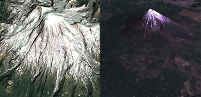 3D models of Mount Rainier (left) and Mount Fuji (right) compiled from satellite photographs.