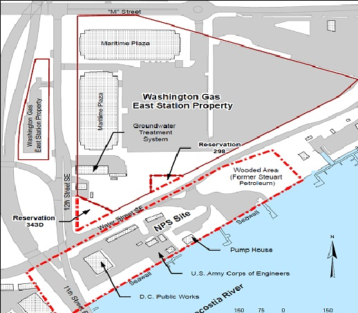 Map of Washington Gas clean up site, courtesy of National Park Service