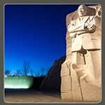 Martin Luther King Jr Memorial at night