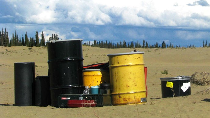 four bear-resistant food containers sit on the sand