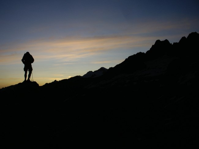 Silhouette of hiker