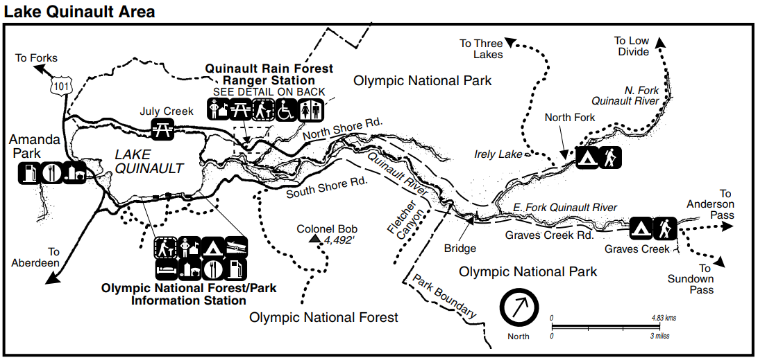 A map of the Quinault area including roads, trails, park boundary with Olympic National Forest, services, Lake Quinault, the Quinault Rain Forest Ranger Station, and the Olympic National Forest/Park Information Station.