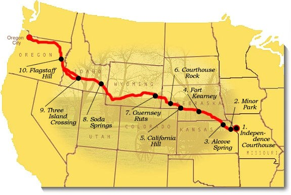 Map image of suggested sites to visit on the Oregon National Historic Trail.