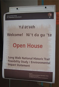 flip chart inviting people to an open house for the Long Walk NHT Feasibility Study