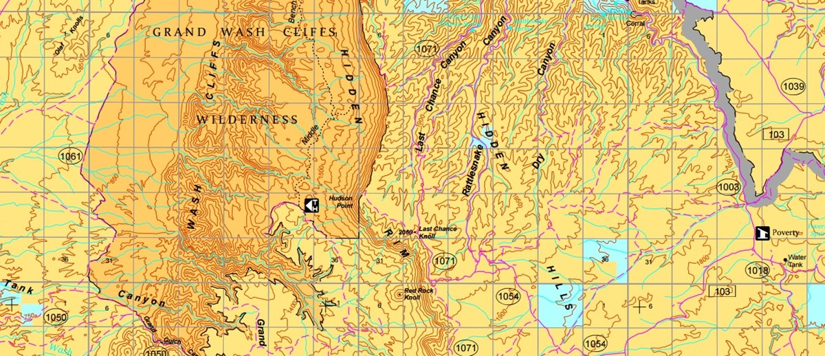 Section of the BLM topo map to show detail
