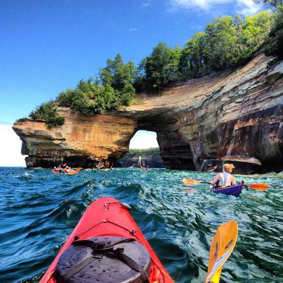Taken with her smart phone, Courtney Kotewa captured this image of Lake Superior and Pictured Rocks National Lakeshore during a family kayak outing. 2013 Grand Prize winner
