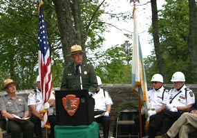 Superintendent Jim Northup was the featured speaker at the June 21 Naturalization Ceremony at Miners Castle within Pictured Rocks National Lakeshore.