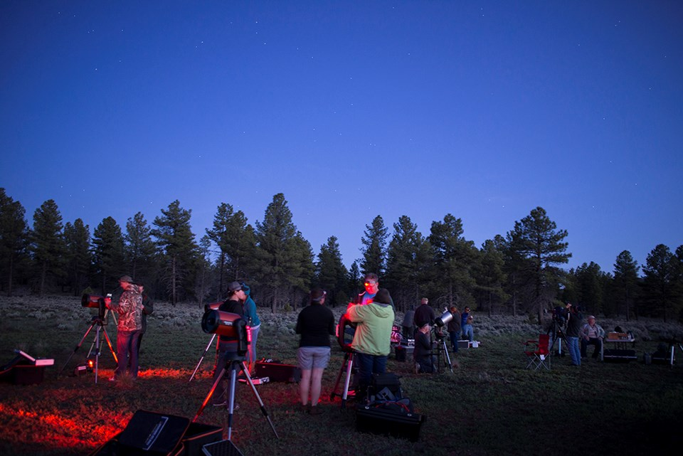 People setting up telescopes in a field at dusk