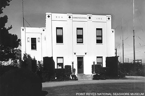 A black and white photo of a white art deco building used by RCA for wireless radio reception.