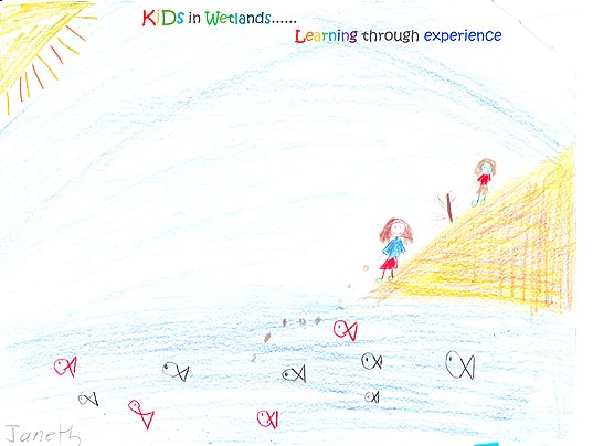 Kids in Wetlands Learning Through Experience drawing. Child's crayon drawing with sun in the upper left and two children on the shore of a body of water in which fish swim.
