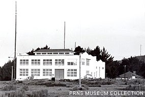 Historic photograph of the original Marconi trans-Pacific powerhouse and transmitting station which opened in 1914 in Bolinas.