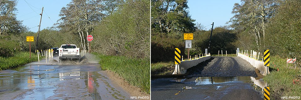 (Left photo) A white truck drives through a flood section of road that has been reduced to one-lane wide. (Right photo) Concrete traffic barriers line the sides of a road on which course, cobble-sized rock has been spread to elevate the road surface.