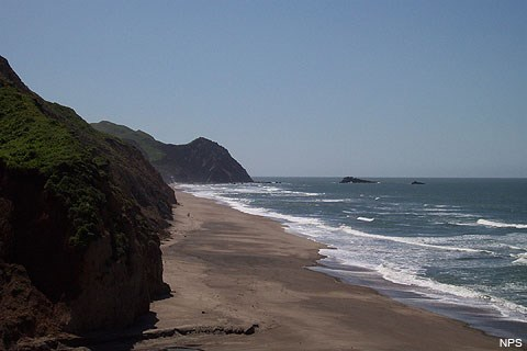 Looking south along Wildcat Beach from Wildcat Campground. The Pacific Ocean is on the right. A sandy beach stretches from the foreground toward Alamere Falls, Double Point, and Stormy Stack, which are visible in the distance in the image's center.