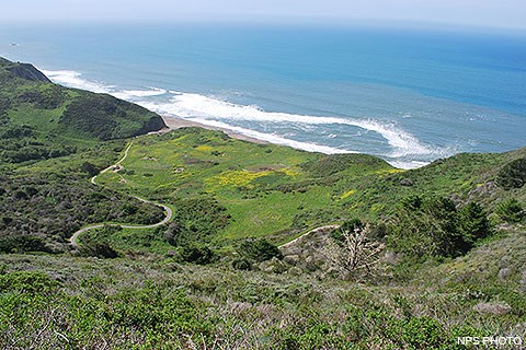 Looking down from a high elevation at a grassy clearing in the center of the photo, which is the location of Wildcat Campground. It is surrounded by vegetated hills to the left and right. The Pacific Ocean fills much of the upper quarter of the image.