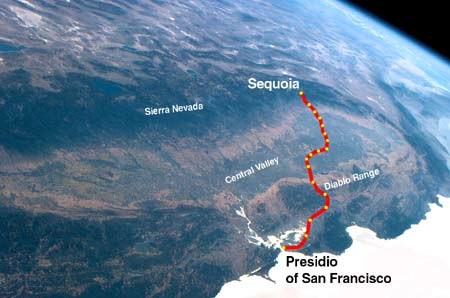 The 9th Cavalry route to Sequoia in 1903.
