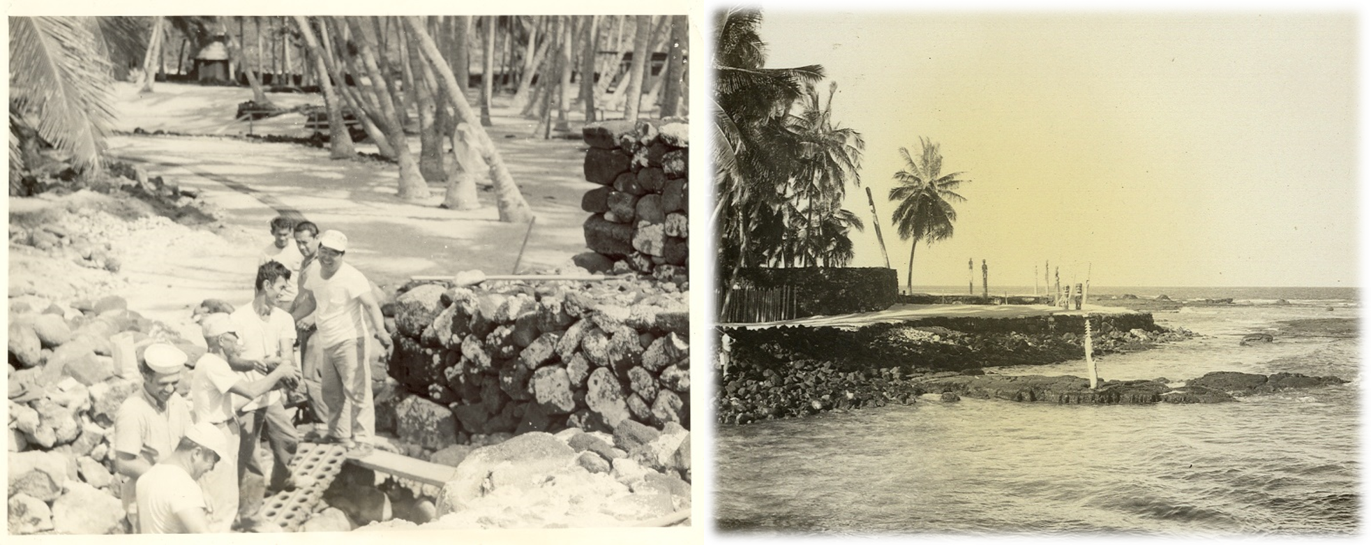 Two Photos: 1) Workers perform an archaeological excavation of the Hale o Keawe platform 2) Historic photo of the restored Hale o Keawe platform