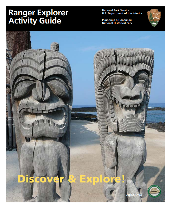 Junior Ranger Explorer Activity Book cover featuring an image of two carved guardian ki'i (tiki)