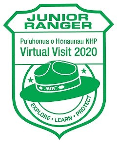 "Green arrowhead-shaped stamp with ranger hat and the text: ""JUNIOR RANGER, Puʻuhonua o Hōnaunau NHP, Virtual Visit 2020, EXPLORE. LEARN. PROTECT."""
