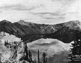 First photograph taken of Crater Lake by Peter Britt.