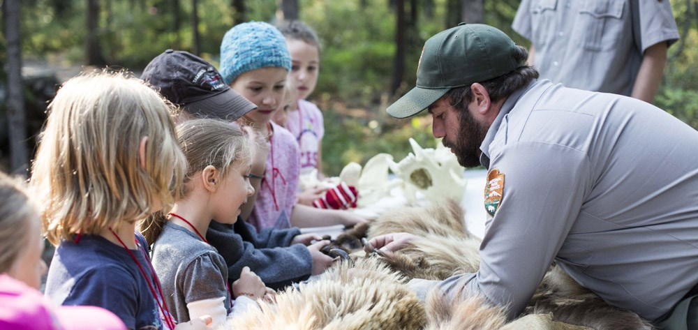 a group of children gather round to learn about a bear pelt from a park ranger