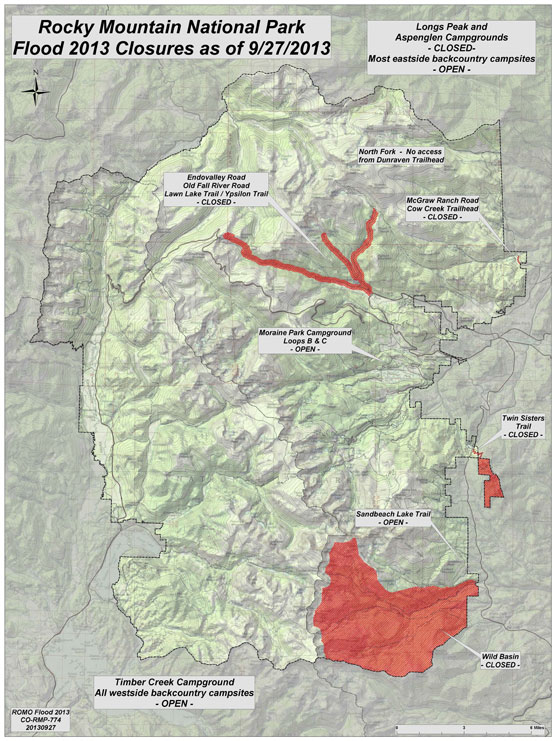 Map of reduced closures in Rocky Mountain National Park.