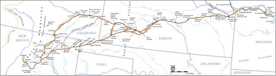 A map of a trail depicted from Missouri to Santa Fe, NM.