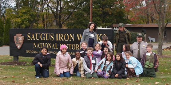 Kids from the Boys and Girls club at Saugus Iron Works