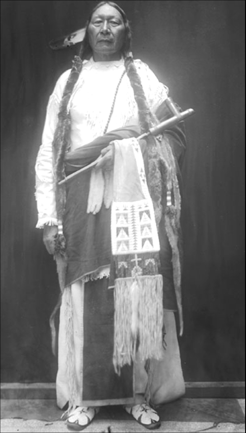 Grey Beard's son Prairie Chief became a chief like his father. He helped guide the Southern Cheyenne through the transition to reservation life. This picture shows his dress in 1911.