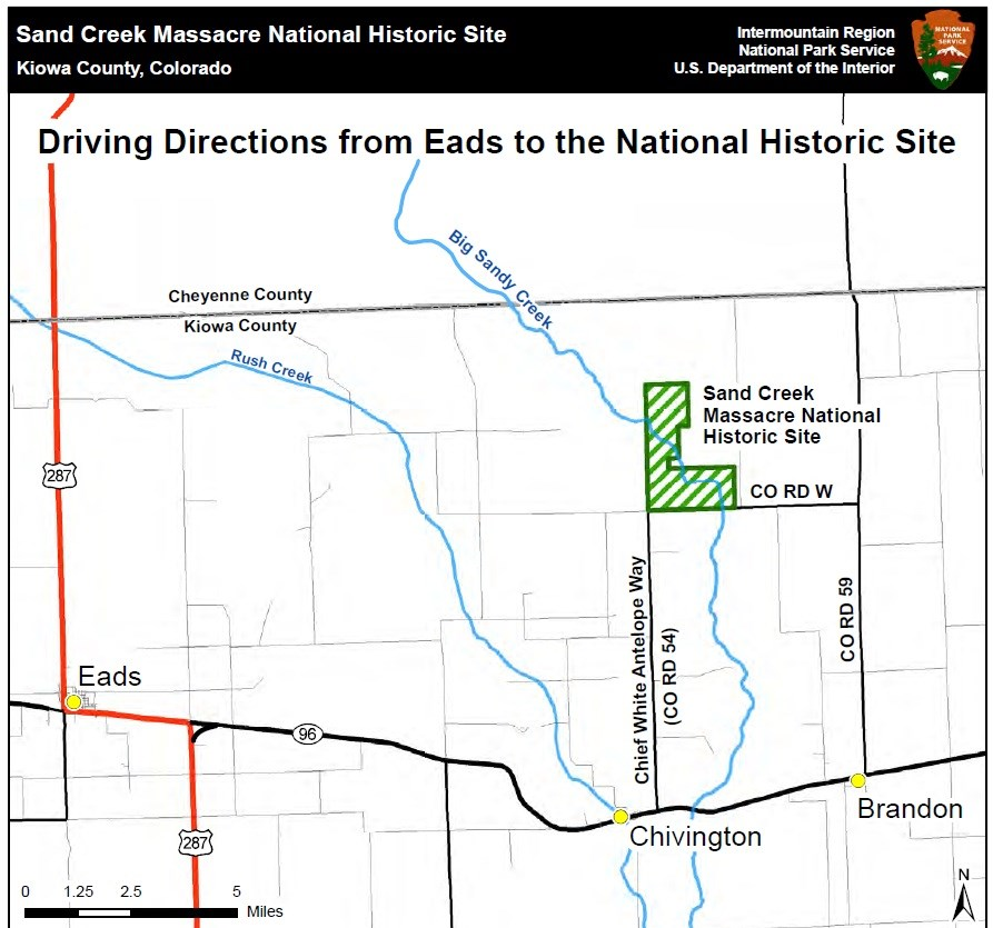 Map to Sand Creek Massacre National Historic Site.