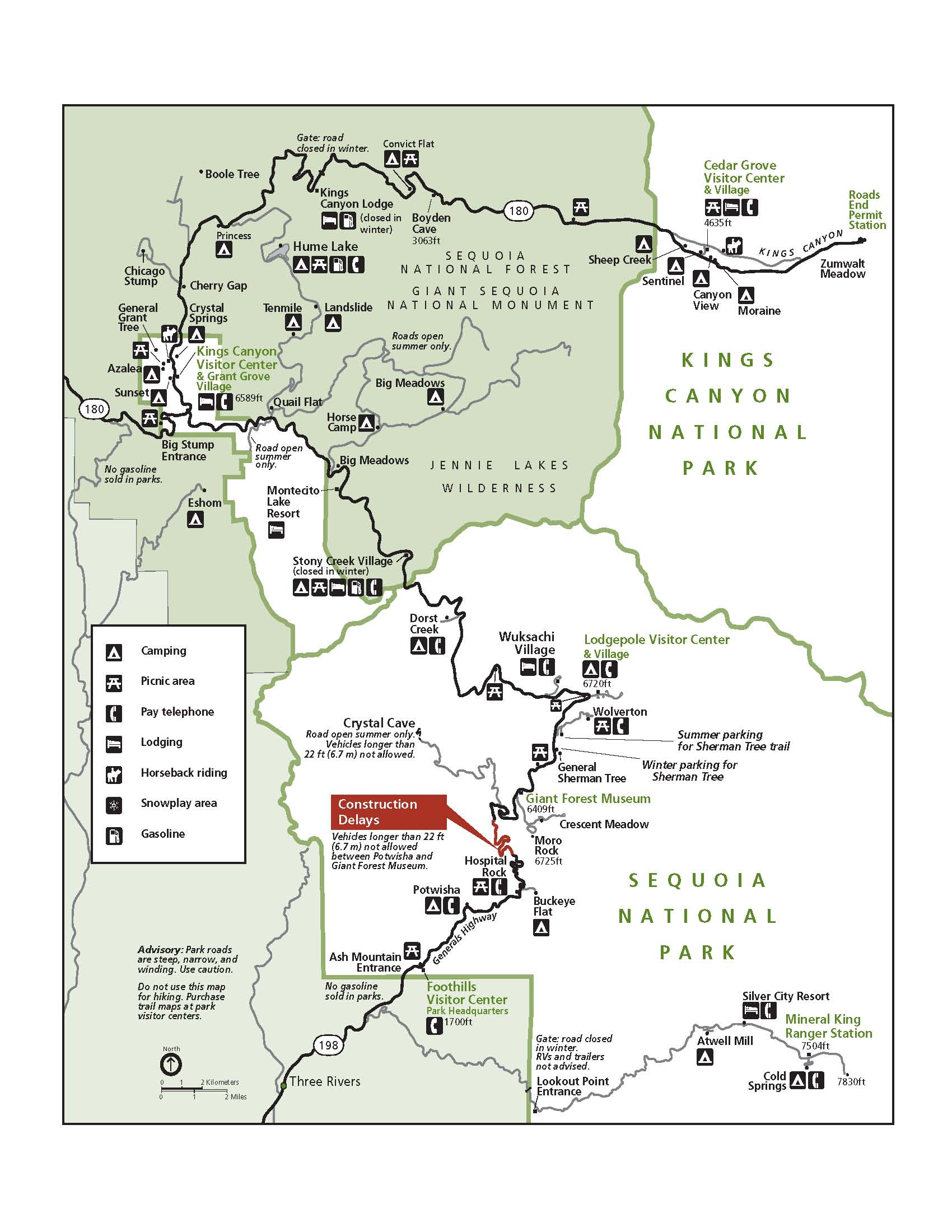 Map of Road Construction Location in Sequoia National Park