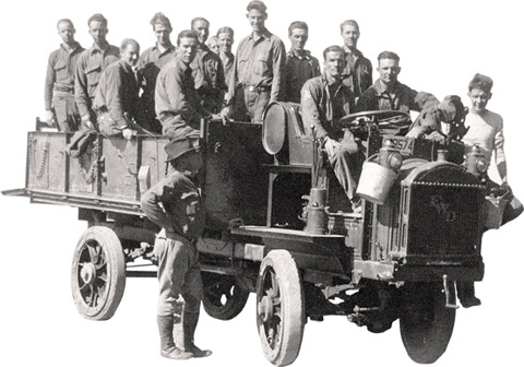 A work truck packed with CCC boys.