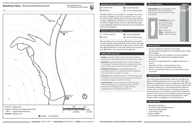 Map and descriptions for Bearfence rock scramble and viewpoint hikes