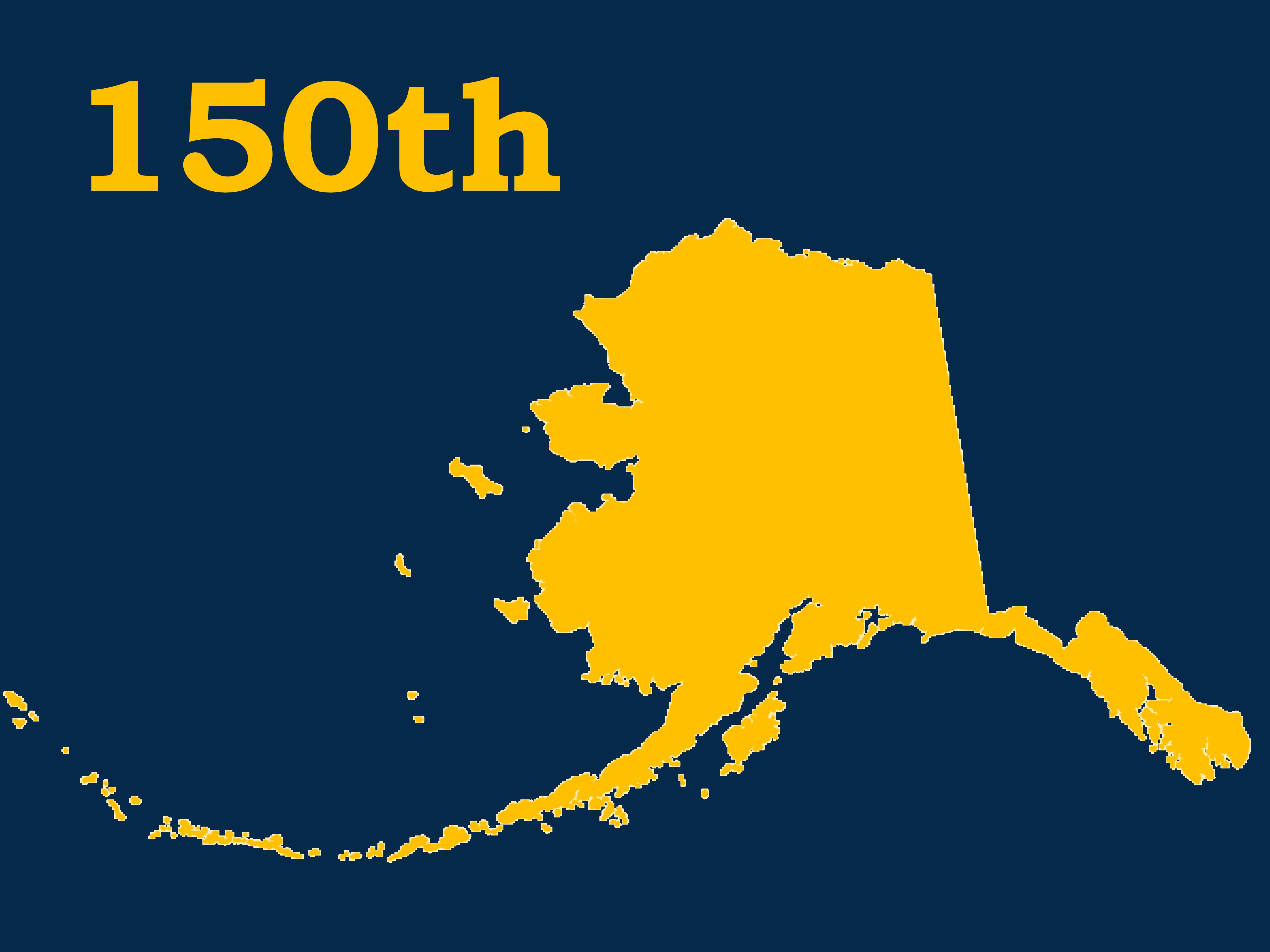 Alaska state image with 150th written text