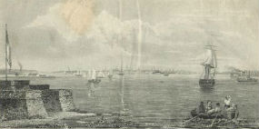 A view of New York from Bedloe's Island in 1835 published in The New York Mirror.