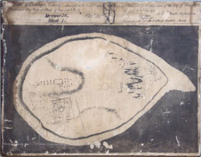 A plan of Bedloe's Island circa 1772 made in 1843 by the U.S. Engineer Department. A hospital, 'dwelling house,' and what seems to be a fenced garden is shown in the plan.