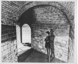 An illustration of a corporal of the guard at Fort Wood during the Civil War.