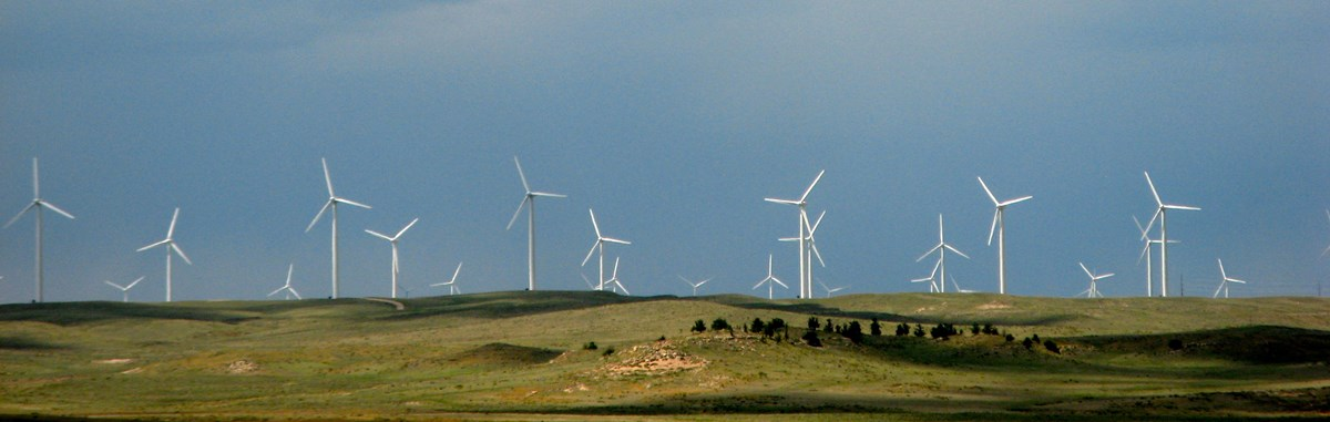 wind turbines on grassy hill