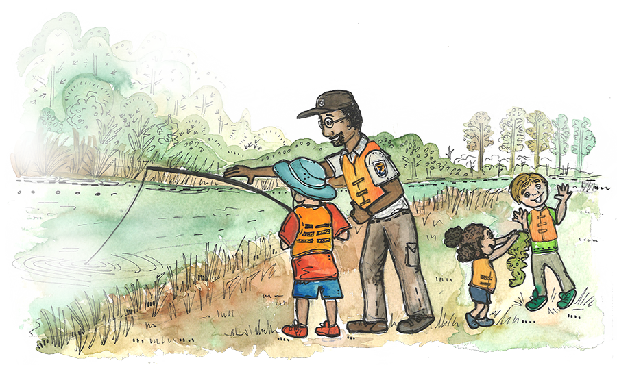 A ranger shows children how to fish in a river.