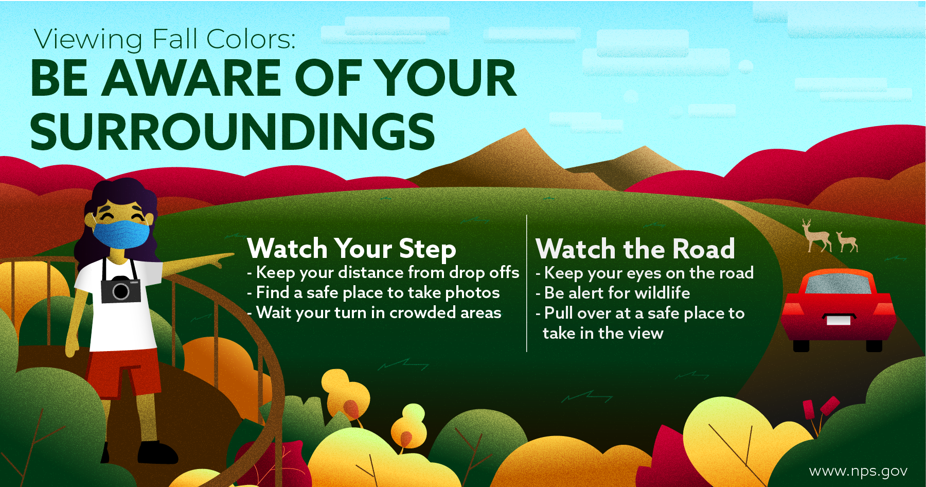 Leaf Peeping Safety Tips Infographic, detailed alt text on the webpage