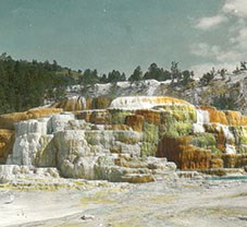 Cleopatra Terrace, Mammoth Hot Springs at Yellowstone National Park, 1890s. Colored lantern slide by Henry G. Peabody.