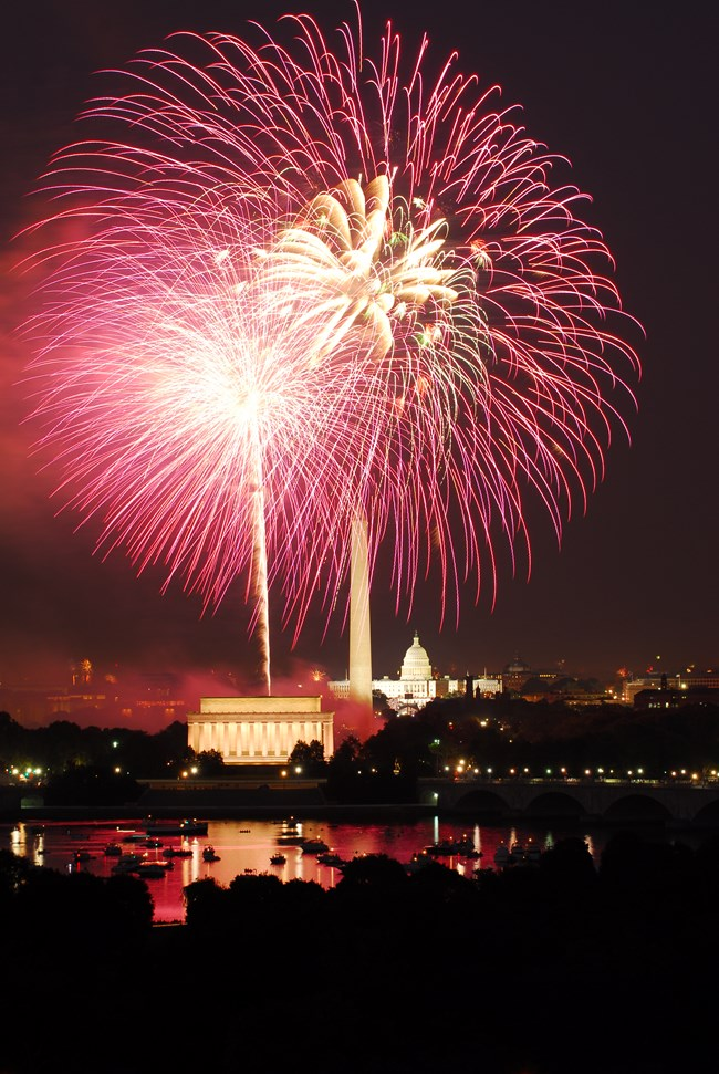 Fireworks over the National Mall on July 4th.