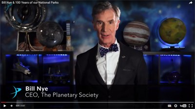 Bill Nye, spokesperson and CEO of The Planetary Society, supports 100 Years of our National Parks and the importance of dark skies
